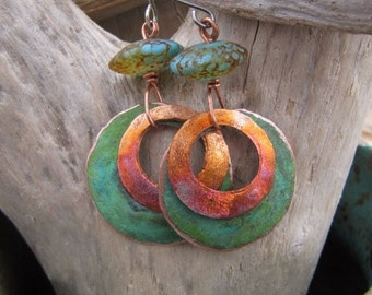 Double Stacked Rings Patina Copper Earrings and Lampwork Beads