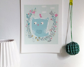 """Poster for children """"Pretty owl"""", nursery, art print for the home, original birth gift - size A4 = 8, 27 x 11, 7"""