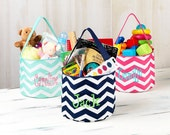 EASTER BASKET Embroidered Bucket Tote/Monogrammed Basket Tote, Personalized Bucket Tote, toy storage, office & pantry storage, multiple uses