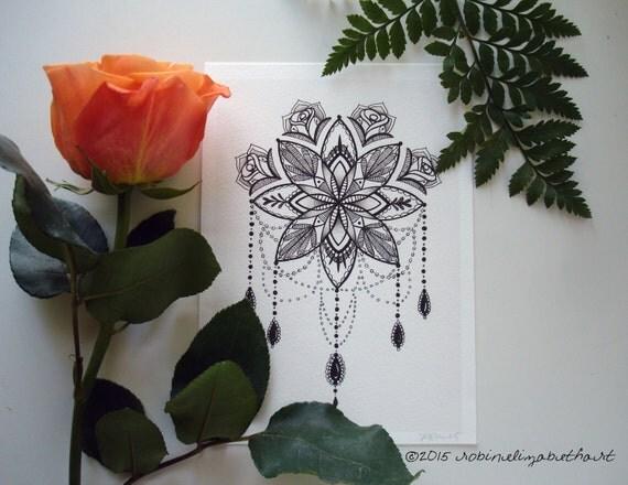 Mandala Illustration  Tattoo Art Pen And Ink Drawing
