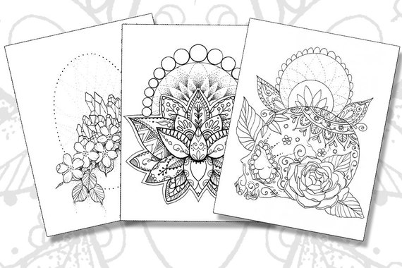 tattoo pack adult coloring pages sugar skull lotus crystals instant download pdf print your own coloring book - Tattoo Coloring Book Pdf