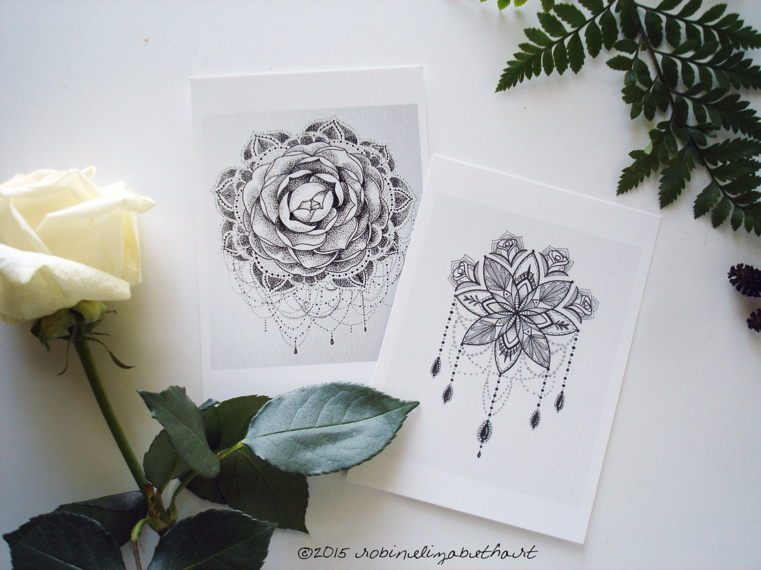 Camellia Illustration Set of 2 Pen and Ink P...