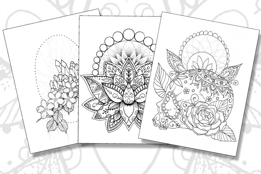Tattoo Pack Adult Coloring Pages Sugar Skull Lotus