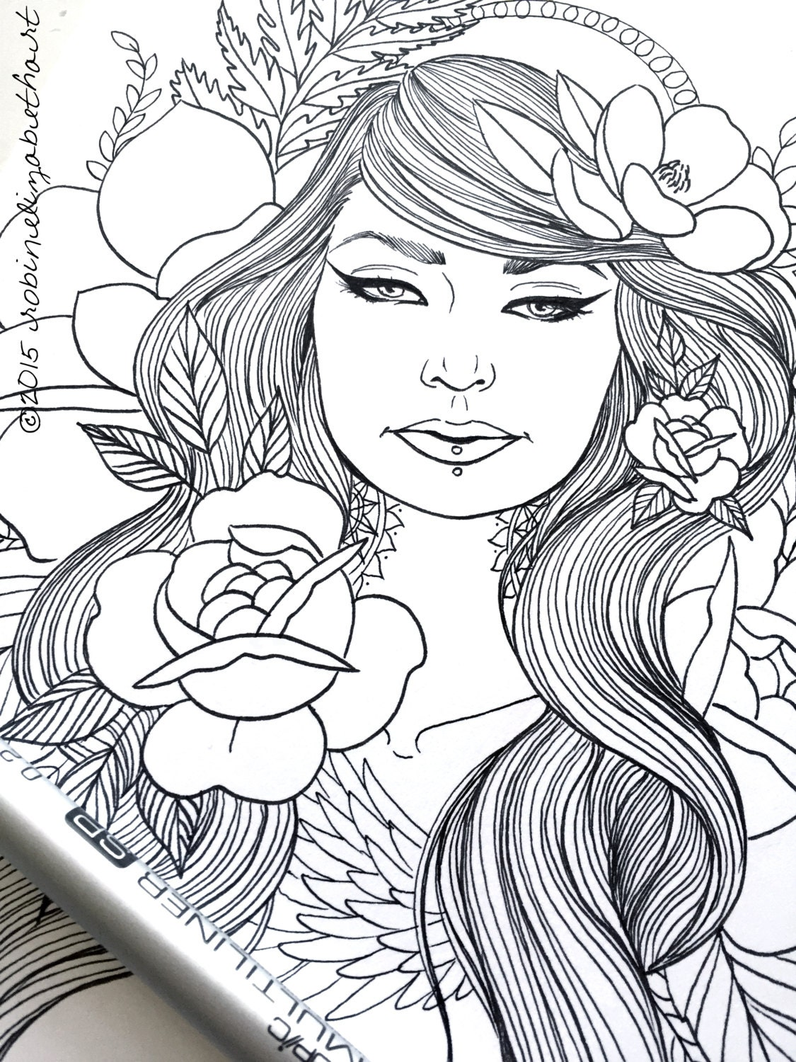 Girls with Tattoos Pack Adult Coloring Pages Magnolias