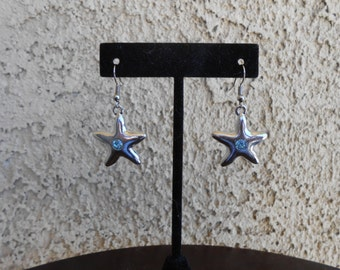 Blue Crystal Star Earrings