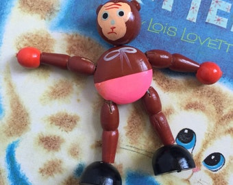 Vintage 1950s Baby Toy / 50s Japan Non-Working String Puppet Monkey, Hand Painted / Nursery Decor, Set Prop