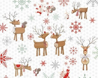 Joy Love Peace Christmas Holiday Fabric Wood Log Santa's Reindeer and Forest Animals on Winter White StudioE