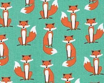 Fabulous Foxes Fabric from Robert Kaufman Cute Small Red Fox on Aqua Blue