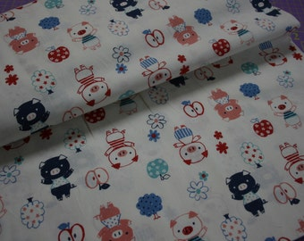 Kokka Fabric Japanese Import Little Pigs Piggy Apple Orchard and Flowers on Ivory