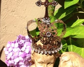 Bronze Infant of Prague Religious Crown Statue Bust Doll Rhinestones