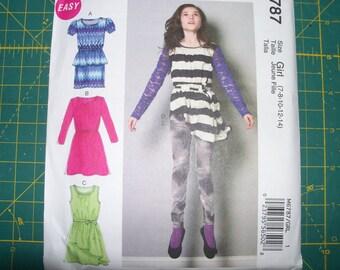 McCall's 6787 Girls Knit Dresses Tunic Belt and Leggings Sizes 7 8 10 12 14