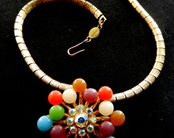 A spectacular necklace 1960 - Signed FREIRICH - AB Crystal ,perfect  lucite and lovely gold finish-Art.55 /2 -