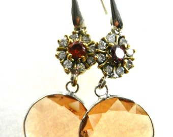 Stylish 70s large crystal dangle earrings - 925 silver and Italy Brand - dazzling flower crystal-fascinating Art Nouveau remake -Art.612/2 -