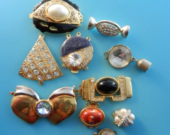 Gorgeous Vintage mix Clasps for Jewelry, 1950s/60s/70s - very glamorous excellent quality for yours creations - 10 Pieces - Art.49 -