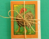 TROPICAL FRENCH ROOSTER Greeting Cards, Set of 3 Orange Rooster Cards, Designed by Susana Caban