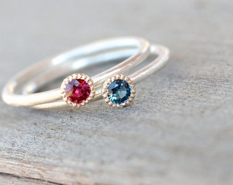 Delicate Sapphire Ruby Silver Gold Rings Stacking Red White and Blue Modern Dainty Fourth of July Gemstone Stacking Rings - Perfect Union