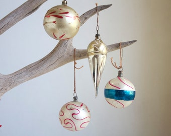 Vintage Christmas Ornaments. Mercury Glass, White, Pink, Blue, Old Fashioned Christmas Decor