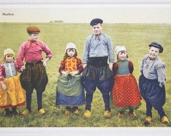 Marken, Netherlands Postcard, Antique Photochrome Photo Postcard, Children in Traditional Dress, Colorful Mantel or Wall Decor