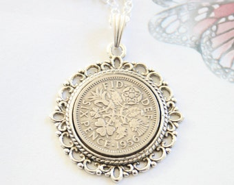 61st birthday gift for women. 1956 birthday gift. Lucky sixpence necklace, 1956 jewellery gift,  1956 necklace.