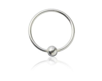 925 Silver Nose Ring with silver ball at it's center, Tragus earring, Cartilage earring, Septum Ring, Belly piercing, Ear piercings, Tribu