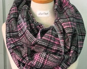 Plaid Flannel Infinity Scarf in Pink and Gray