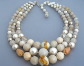 Multi Strand Glass Bead Necklace, Orange Bead Necklace, Neutral Color Necklace, Japan Necklace, Layered Necklace
