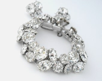 Vogue Rhinestone Bracelet, Vogue Rhinestone Earrings, Statement Bracelet, Chunky Rhinestone Bracelet, Rhinestone Jewelry Set