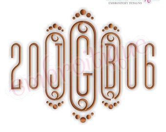 "Cameo Decorative Initial Monogram Set -MEDIUM -  5"", 6"", 7""  Embroidery Alphabet Monogram Set-Font Letters  Instant Download"