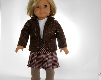 18 inch doll clothes, 4 piece outfit, Top, Blazer Leggings and Pleated Skirt, Made to fit 18 inch dolls such as American Girl, 09-0498