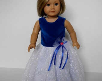 18 inch doll clothes fits dolls such as American Girl® Dress in Royal Blue Velvet with White Snowflake Skirt Full Length Ball Gown, 10-0526