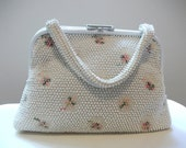Granny Takes A Trip White Beaded Pocketbook with Small Pink Flowers