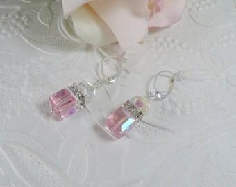 Swarovski Earrings Pink Crystal Cubes