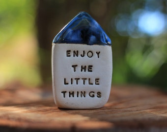 Positive energy gift, Inspirational quote house Miniature house Office decor Motivational quotes Enjoy the little things Holiday gift