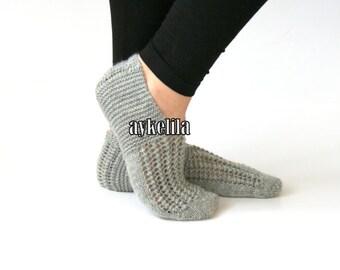 Knitt Slippers, Wool Slippers, Grey Slippers, Women Slippers, Handmade Slippers, House Slippers