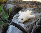OOAK Little Baby White Seal Needle Felted Soft Sculpture