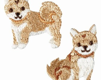 2 Small Brown Dog Embroidered Iron On Patch, Japanese Iron on Applique, Made in Japan, Kawaii Puppy, Animal Motif, Embroidery Applique, W041