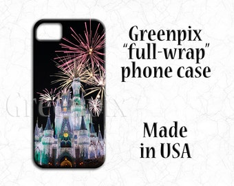 Disney Samsung Galaxy S7, S6, S5, S4, iPhone 7 case, 3D full image wrap, princess Cinderella castle, fireworks, i Phone 4 4s, 5 5s 5c 6 Plus