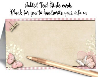 12 Blank Tent Style Place Cards, Name Cards, Buffet Food Labels, Pink Butterflies and Flowers, Wedding, Bridal or Baby Shower, Birthday