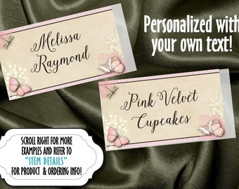 Personalized Sticker Labels, Name Badge, Food or Candy Buffet Labels, Pink Butterflies and Flowers, Bridal or Baby Shower, Wedding, Birthday