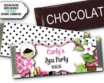 12 Candy Bar Wrappers, Spa Beauty Party, Bridal Shower, Birthday, Slumber Party, Bachelorette Party, Girls Night Out, Hot Pink and Black