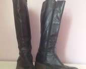 Black leather JCrew tall boots size 8 1/2