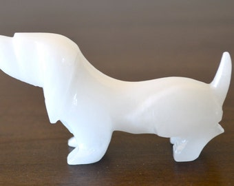 Vintage Rose Quartz Stone White Dog Figurine Smaller Sized