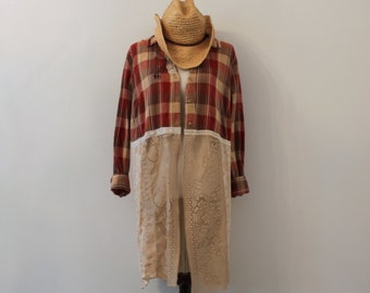 2XL Romantic Gyspsy Lace Flannel Duster, Lagenlook, Free People Inspired, Boho, Jacket, Hippie Style Blouse,Eco Friendly, Upcycled Clothing