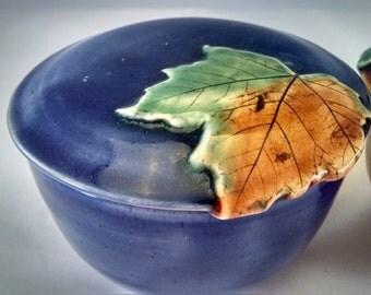 Covered Jar, Coffee Jar, Sugar Jar, Maple Leaf, Arts and Crafts, Made to Order