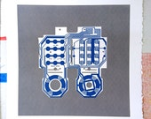 Mattel Intellivision controller screen print blue and grey art silkscreen circuit portrait retro console