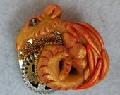 Steampunk Dragon Brooch / Scarf Pin Jewelry Handmade NEW Polymer Clay Art Gears Red Gold Silver