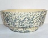 Vintage Yellow Ware Blue Spongeware Stoneware Bowl, Mixing Bowl, Vintage Kitchen, Cottage Decor, Studio Line, Vintage Pottery