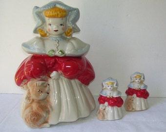 Regal Goldilocks Ceramic Cookie Jar and Salt and Pepper Shakers, Ca. 1940's,  Marked Goldilocks, Vintage Decor