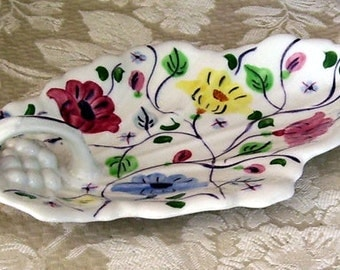 Southern Potteries  Blue Ridge Hand Painted handled China Relish Tray, Summertime flowers,  Romance flowers, Home Decor, Pickle Dish