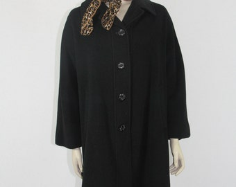1950's Vintage Coat - Lilli Ann Black Cashmere Winter Coat